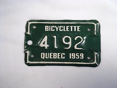 1959 QUEBEC Bicycle License Plate #4192