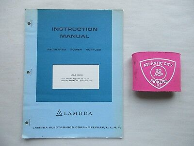 Lambda Lc-3 Series Regulated Power Supplies Instruction Manual