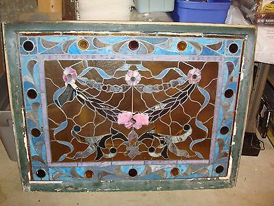Antique 1901 New England New Hampshire Large Floral Stained Glass Window Panel