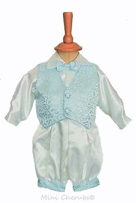 Baby Boys White Satin With Blue Trim Christening Baptism 5 Piece Outfit Suit