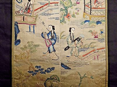 19th C. Qing [Ching] [Ch'ing] Dynasty Chinese Silk Embroidered Sleeve Panels