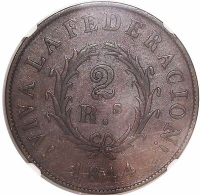 Buenos Aires, Argentina, copper 2 reales, 1844, encapsulated NGC XF 40 BN
