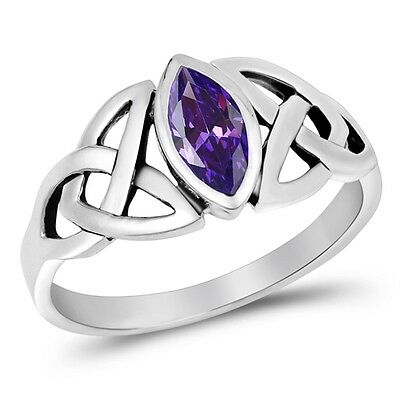Amethyst Marquise Setting Celtic Knot Ring - Rhodium Sterling Silver