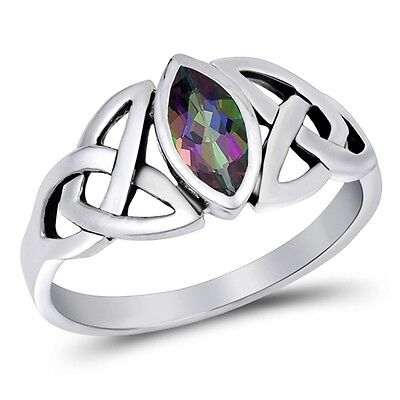 Mystic Rainbow Topaz Marquise Setting Celtic Knot Ring  Rhodium Sterling Silver