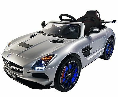 Mercedes SLS AMG 12v Battery Powered Electric Ride On Kids Toy Car Remote Silver
