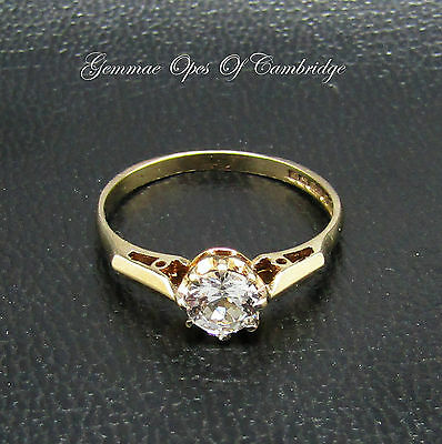 9ct Gold CZ Solitaire Ring Size M 1/2 1.43g