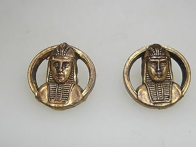Pair Rare Vintage 1940-50's Lucite Egyptian Pharoh Buttons! Must See Details