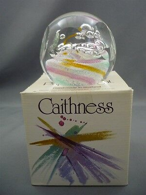 Caithness Scotland Pink Blue Bubble Glass SIGNED Wanderlust Paperweight w/Box