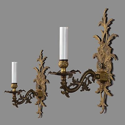 French Rococo Brass Wall Sconces c1950 Vintage Antique Gold Wall Lights