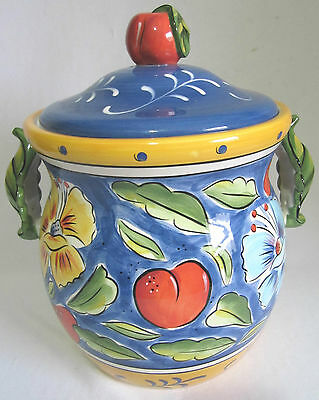 """Clay Art South San Francisco~Stonelite Clay Canister Hand Painted """"amalfi"""""""