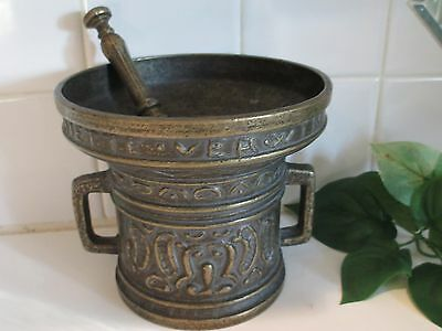 Solid Bronze Apothecary Nietto Verwin Anno 1480 Mortar & Pestle