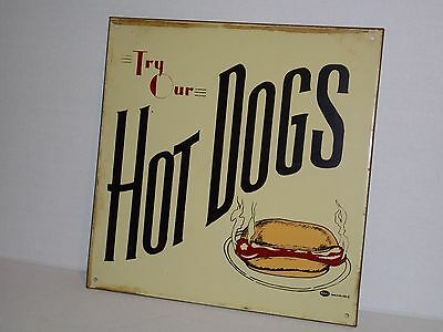 """ORIGINAL Vintage Old Metal """"Try Our Hot Dogs"""" Sign by Mummert Sign Co."""