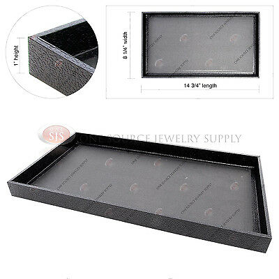 "Black Wooden Sample Display Tray Organizer Covered Faux Leather 14 3/4"" x 8 1/4"""