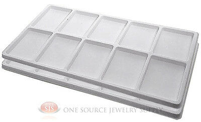 2 White Insert Tray Liners W/ 10 Compartments Drawer Organizer Jewelry Displays
