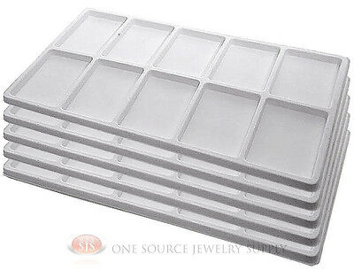 5 White Insert Tray Liners W/ 10 Compartments Drawer Organizer Jewelry Displays