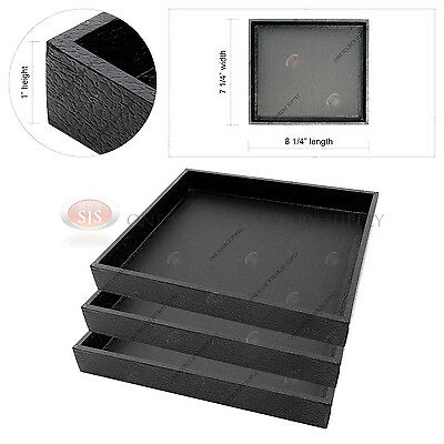 3 Black Wooden Sample Display Trays Storage Organizer Covered Faux Leather