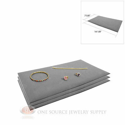 (3) Gray Tray Liners Plush Soft Velvet Jewelry Display Counter Display Pads