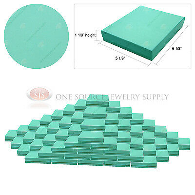 """100 Teal Blue Gift Jewelry Cotton Filled Boxes 6 1/8"""" x 5 1/8"""" x 1 1/8"""" Pendant"""