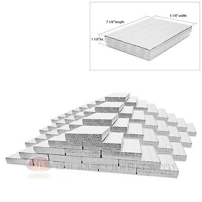 """100 Silver Foil Cotton Filled Jewelry Gift Boxes 7 1/8"""" x 5 1/8"""" x 1 1/8""""H"""