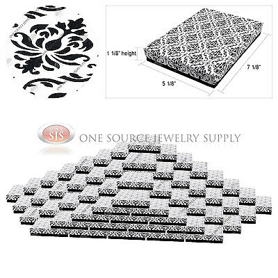 """100 Damask Print Gift Jewelry Cotton Filled Boxes 7 1/8"""" x 5 1/8"""" x 1 1/8"""""""