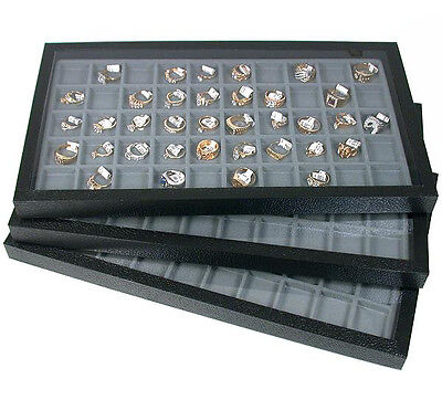 3 Acrylic Top Storage Jewelry Display Cases w/ 50 Compartment Gray Inserts