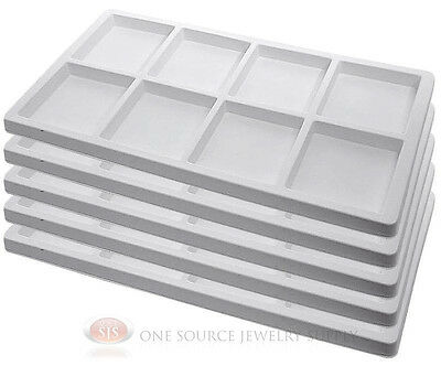 5 White Insert Tray Liners 8 Compartment Each Drawer Organize Jewelry Displays