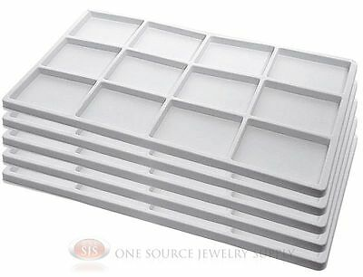 5 White Insert Tray Liners W/ 12 Compartments Drawer Organizer Jewelry Displays