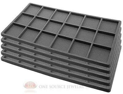 5 Gray Insert Tray Liners W/ 18 Compartments Drawer Organizer Jewelry Displays