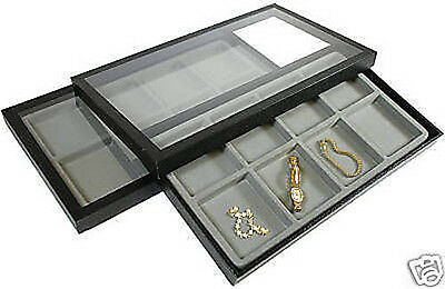 2-8 Compartment Acrylic Lid Jewelry Display Case Gray