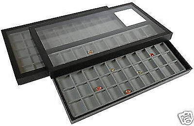 100 Compartment Acrylic Lid Jewelry Display Case Gray