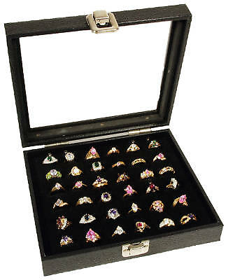 Ring Display Case Glass Top 36 Slot Jewelry Travel New