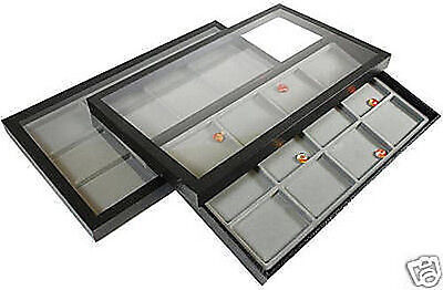 2-12 Compartment Acrylic Lid Jewelry Display Case Gray