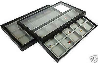 30 Compartment Acrylic Lid Jewelry Display Case Gray