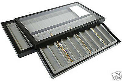 20 Slot Acrylic Lid Jewelry Display Case Gray Tray