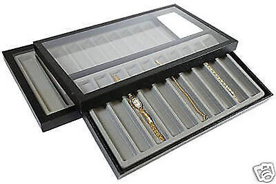 2-10 Slot Acrylic Lid Jewelry Display Case Gray Tray