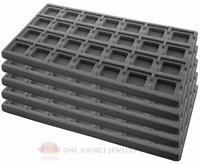 5 Gray Insert Tray Liners W/ 28 Compartments Drawer Organizer Jewelry Displays