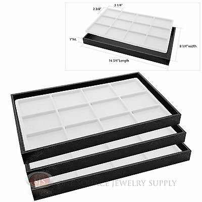3 Wooden Sample Display Trays 3 Divided 12 Compartment White Tray Liner Inserts