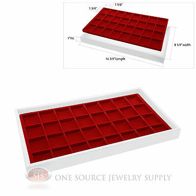 White Plastic Display Tray 32 Red Compartment Liner Insert Organizer Storage