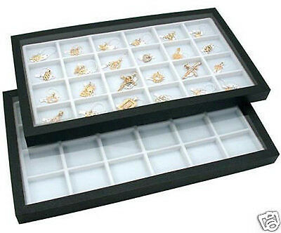 2 Acrylic Top Display Cases w/ 24 Compartment Inserts