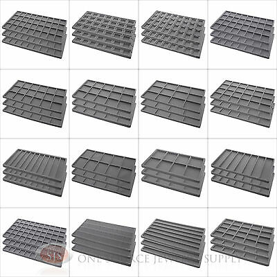 (3) Gray Compartment Flocked Display Inserts For Jewelry Cases and Trays