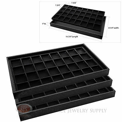 3 Wooden Sample Display Trays 3 Divided 32 Compartment  Black Tray Liner Inserts