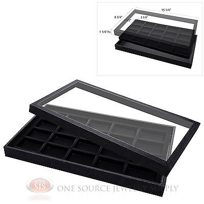 (1) Acrylic Top Display Case & (1) 20 Compartmented Black  Insert Organizer