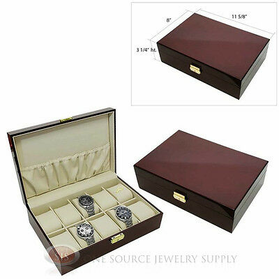 2 Piece 10 Watch Solid Top Rosewood Cases Beige Faux Leather Lining Displays