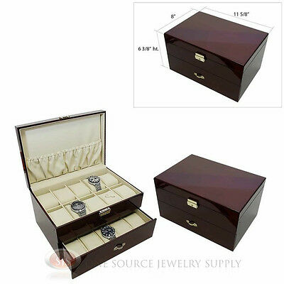 (2) 20 Watch Solid Top Rosewood Cases with Beige Faux Leather Lining Displays