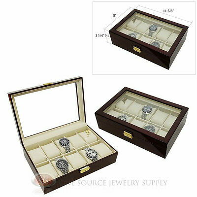 2 Piece 10 Watch Glass Top Rosewood Cases Beige Faux Leather Lining Displays