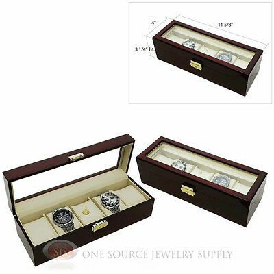 (2) 5 Watch Glass Top Rosewood Watch Cases with Beige Faux Leather Displays