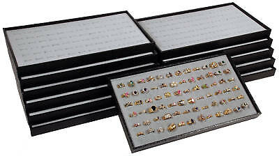 12 Black Plastic Stackable Display Travel Trays w/ Gray Ring Pad Organizers