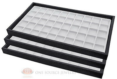 (3) Black Plastic Stackable Trays w/50 Compartments White Jewelry Display Insert