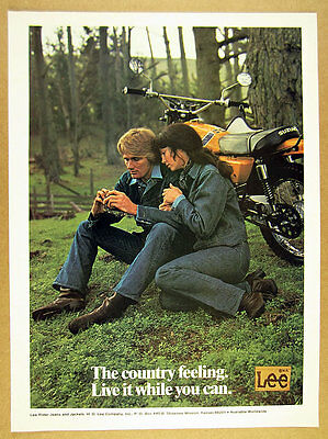 1973 lee jeans Suzuki TS185 TS-185 motorcycle & couple photo vintage print Ad