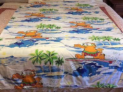 Vintage Garfield Surfing Quilt/Doona SB Cover OR Fabric TM Jim Davis Sewing